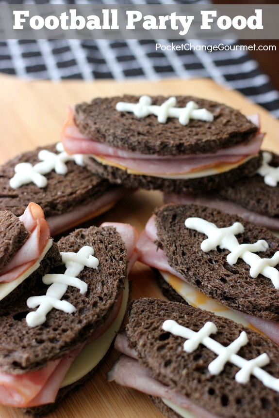 Serve these Football Shaped Sandwiches at your next party or while watching the Big Game! Pin to your Recipe Board!