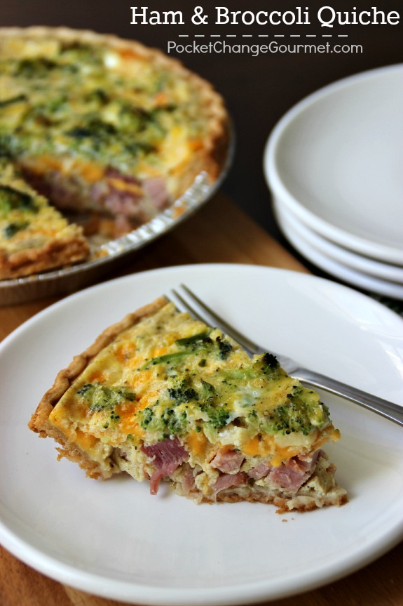 This Ham & Broccoli Quiche is a perfect way to use up leftover ham! It makes a delicious dinner as well as brunch! Pin to your Recipe Board!