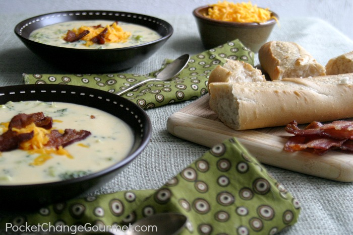 Broccoli Cheddar Soup   Recipe on PocketChangeGourmet.com
