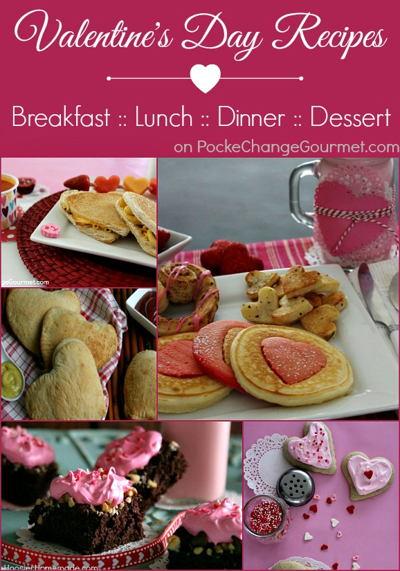 Valentine's Day Recipes - Breakfast, Lunch for Kids, Dinner for Kids, Dinner for your Sweetie and LOTS of dessert ideas too! Pin to your Recipe Board!