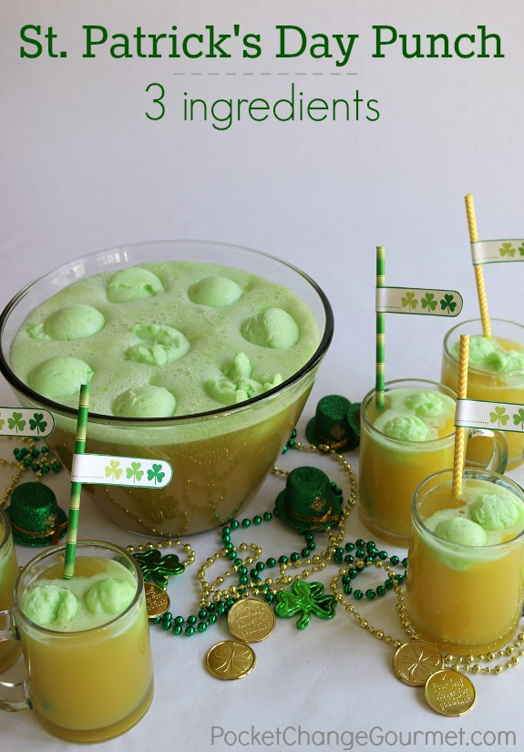 Only 3 ingredients to make this delicious St. Patrick's Day Punch! Change the flavors for other special occasions! Pin to your Recipe Board!