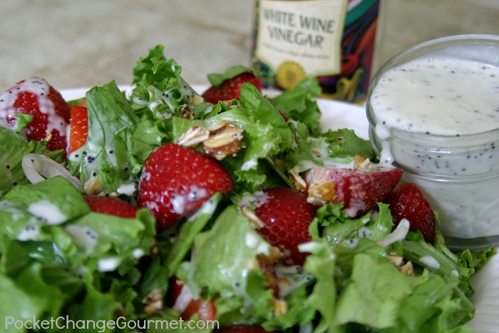 Strawberry Salad with Poppy Seed Dressing | Recipe on PocketChangeGourmet.com