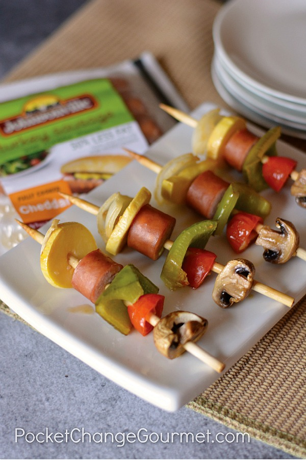 There is something FUN about eating food off a stick! And these Turkey Cheddar Sausage Kabobs are not only fun to eat - they are fun to make! AND they are delicious to eat and budget friendly to make!