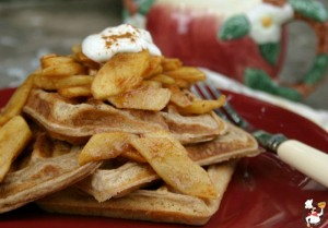 Cinnamon Waffles with Fried Apples