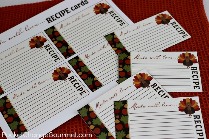 Free Printable Recipe Cards for Thanksgiving on PocketChangeGourmet.com