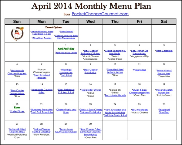 April Menu Plan-2014   Available on PocketChangeGourmet.com