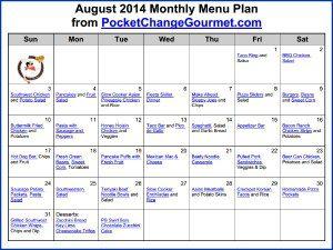 August 2014 Monthly Menu Printable