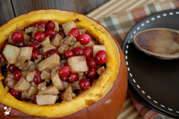 Baked Pumpkin with Cranberries and Apples