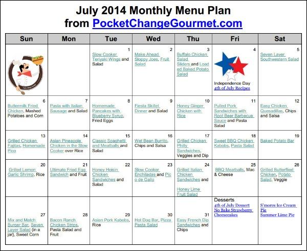 July 2014 Printable Menu Plan