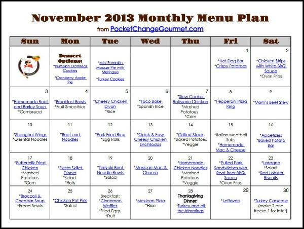November Printable Menu