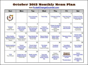 October Printable Menu :: Available on PocketChangeGourmet.com