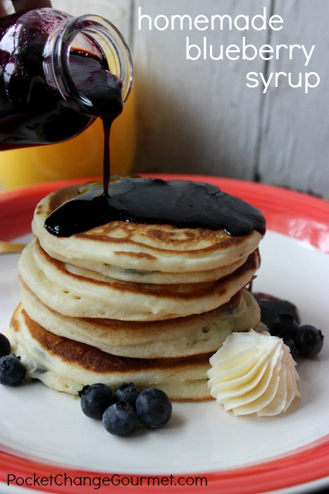 Homemade Blueberry Pancakes with Blueberry Syrup :: Recipe on PocketChangeGourmet.com - old fashioned pancakes