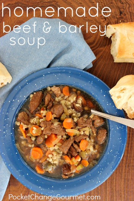 Homemade Beef and Barley Soup :: Recipe on PocketChangeGourmet.com