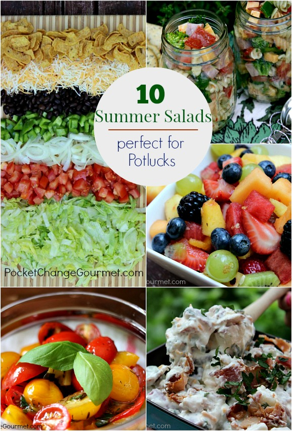 10 Summer Salads perfect for Potlucks | on PocketChangeGourmet.com