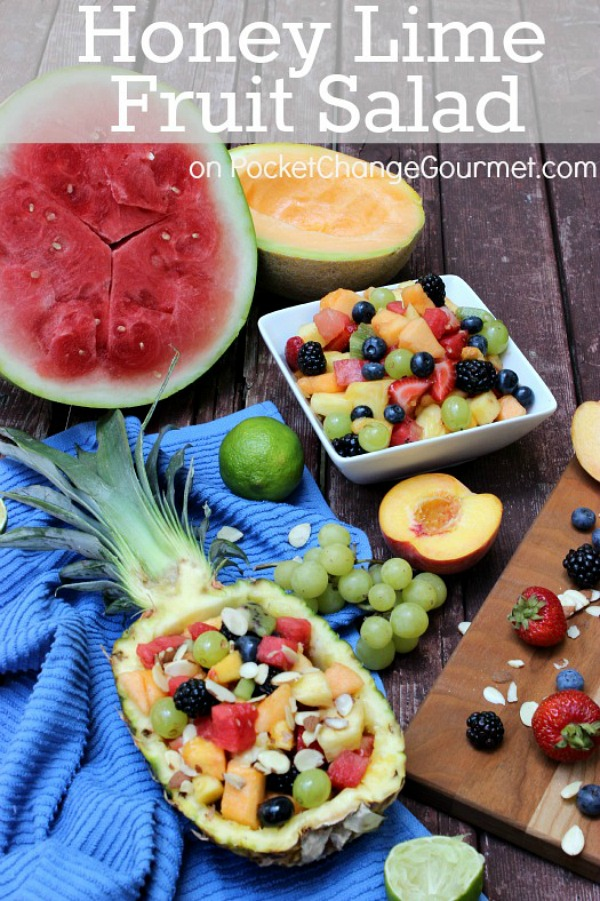 Serve this delicous Honey Lime Fruit Salad in a pineapple for an extra splash to your party! Spoon it into jars for an easy picnic dish or just enjoy it at home out of a big bowl! Pin to your Recipe Board!