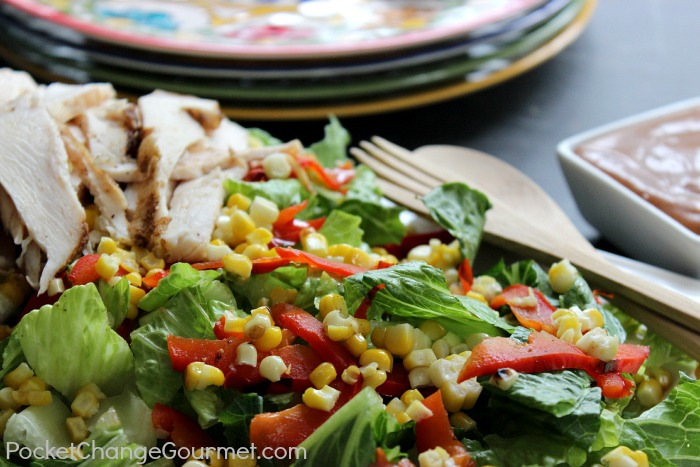 Grilled Chicken Salad with Corn and Peppers :: Recipe on PocketChangeGourmet.com