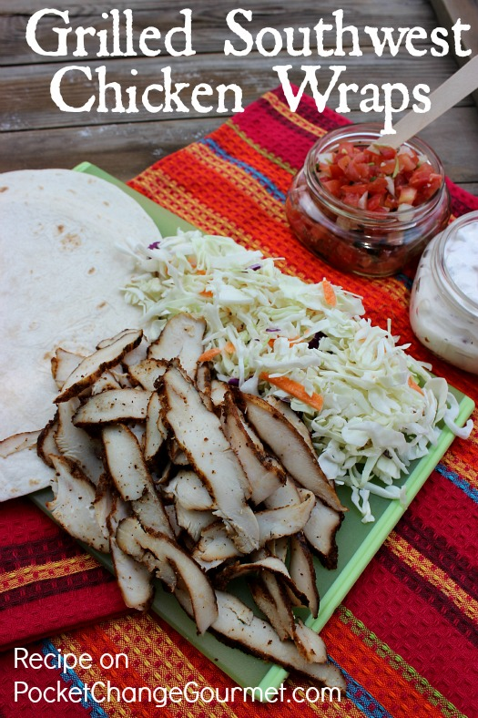 Grilled Southwest Chicken Wraps :: Recipe on PocketChangeGourmet.com