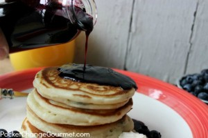 Homemade Blueberry Syrup and Pancakes