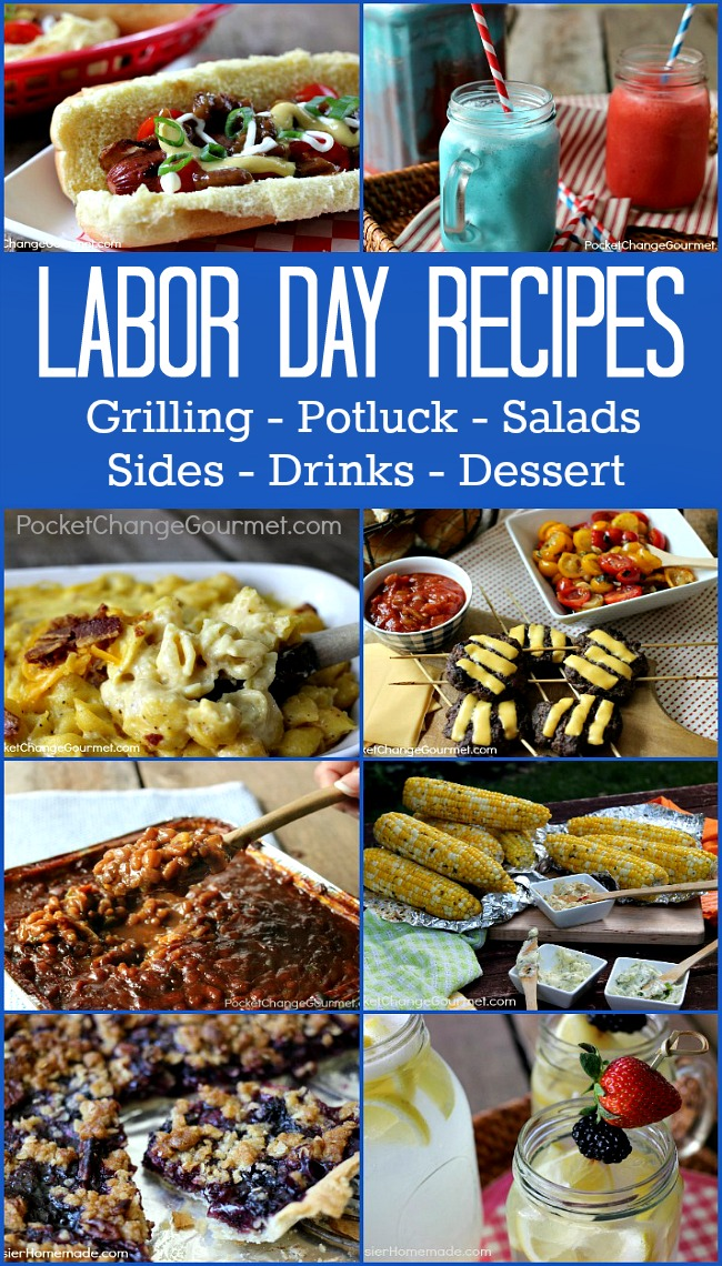 Heading to a cookout? Grab one of these Labor Day Cookout Recipes! Grilling - Salads - Sides - Feed a Crowd - Drinks - and more! Click on the Photo for the Recipes!
