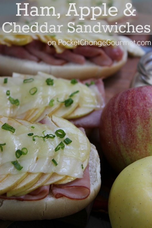 Ham, Apple & Cheddar Sandwiches :: Recipe on PocketChangeGourmet.com