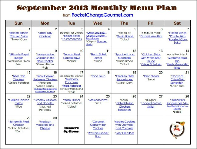 Printable Monthly Menu.Sept