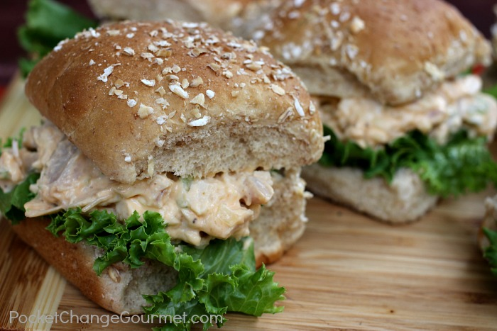 Buffalo Chicken Salad Sliders :: Recipe on PocketChangeGourmet.com