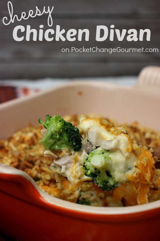 Cheesy Chicken Divan Casserole on your dinner table in 30 minute or less. Recipe on PocketChangeGourmet.com
