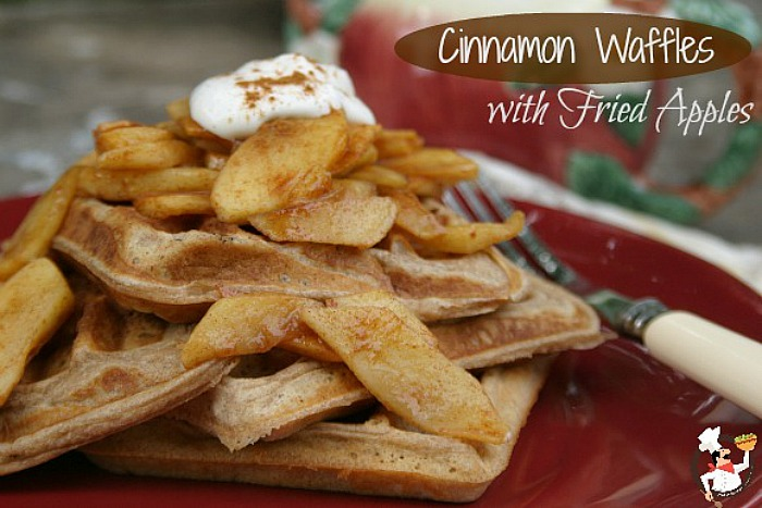Cinnamon Waffles with Fried Apples |  Recipe on PocketChangeGourmet.com