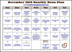 Printable December Menu Plan | Available on PocketChangeGourmet.com