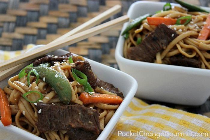 Teriyaki Noodle Bowl on PocketChangeGourmet.com