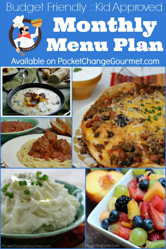 Monthly Menu Plan | Budget Friendly :: Kid Approved | Available on PocketChangeGourmet.com