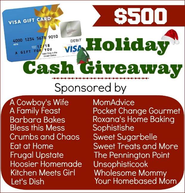 $500 Holiday Cash Giveaway on PocketChangeGourmet.com