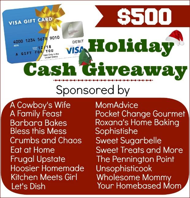 $500 Holiday Cash Giveaway on PocketChangeGourmet.com