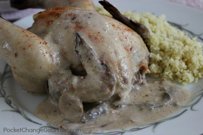 Cornish Hens with Mushroom Sauce: Romantic Dinner for 2 | Recipes on PocketChangeGourmet.com