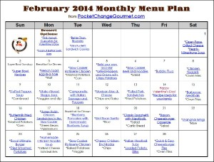 February Printable Menu from PocketChangeGourmet.com