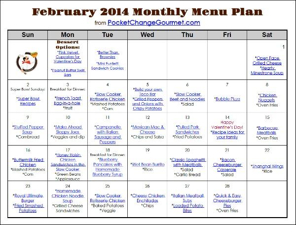 February Printable Menu from PocketChangeGourmet.com