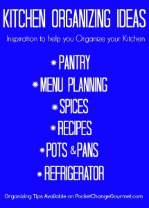Tackle your kitchen with these Kitchen Organizing Ideas! Pantry, Spices, Pots, Pans, and more! Pin to your Organizing Board!