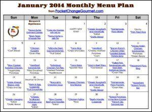 Printable January 2014 Menu | Available on PocketChangeGourmet.com