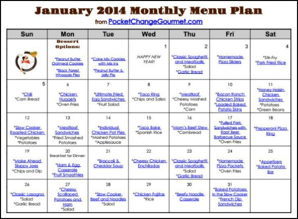 Printable January 2014 Menu | Available on PocketChangeGourmet.com