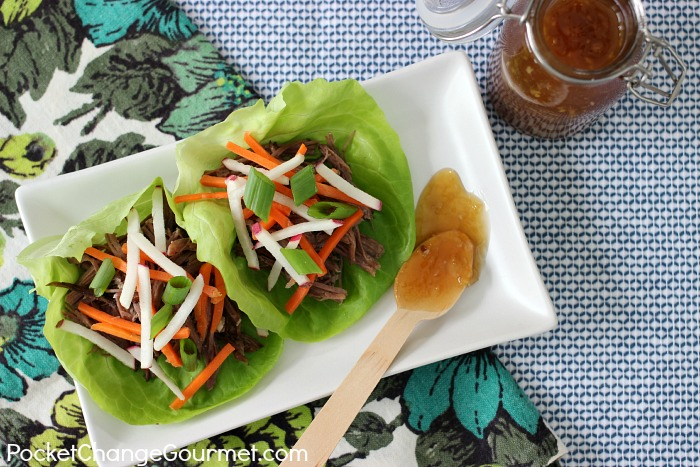 Shredded Beef Lettuce Wraps | Recipe on PocketChangeGourmet.com