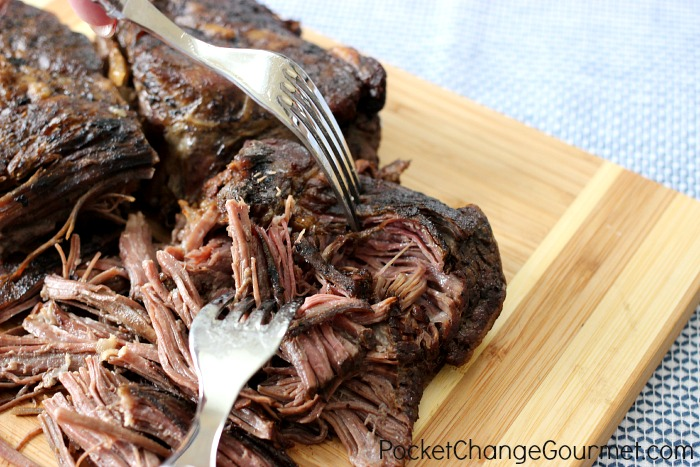 Slow Cooker Shredded Beef |  Recipe on PocketChangeGourmet.com