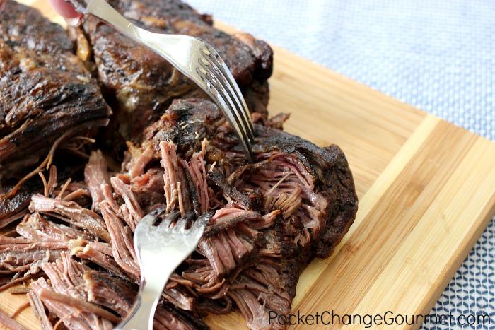 Slow Cooker Shredded Beef |  Recipe on PocketChangeGourmet.com