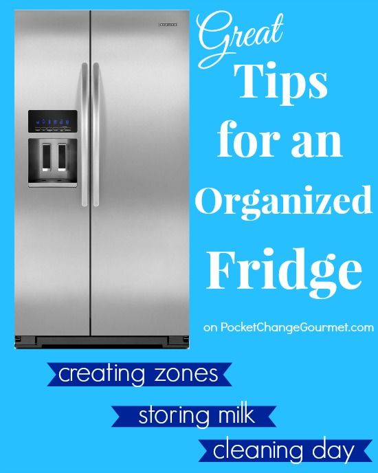 Get your Refrigerator organized once and for all! Tips for creating zones! Pin to your Organizing Board!