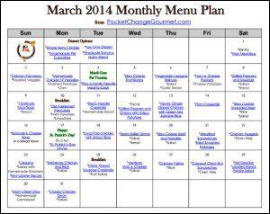 March Menu Plan Printable