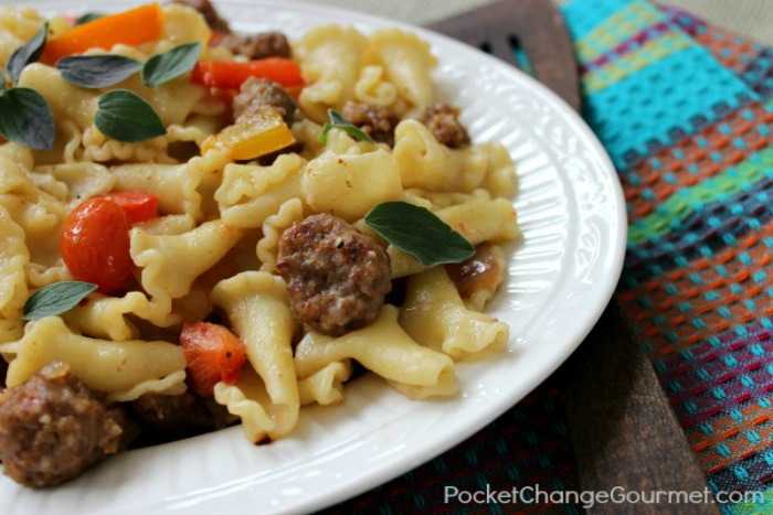 Campanelle with Italian Sausage Peppers and Tomatoes | Recipe on PocketChangeGourmet.com