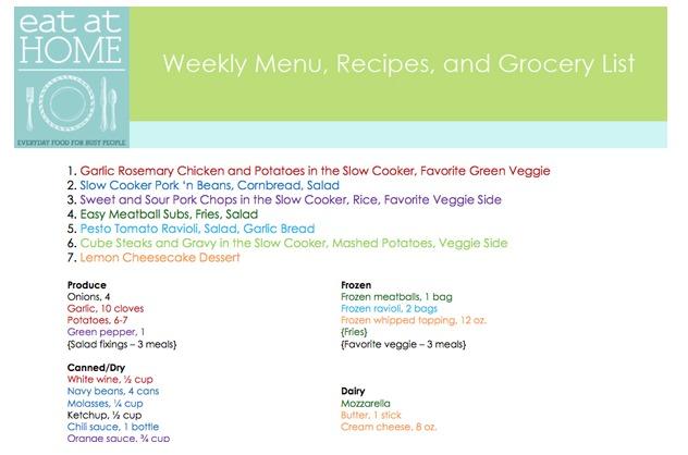 menu planning eat at home