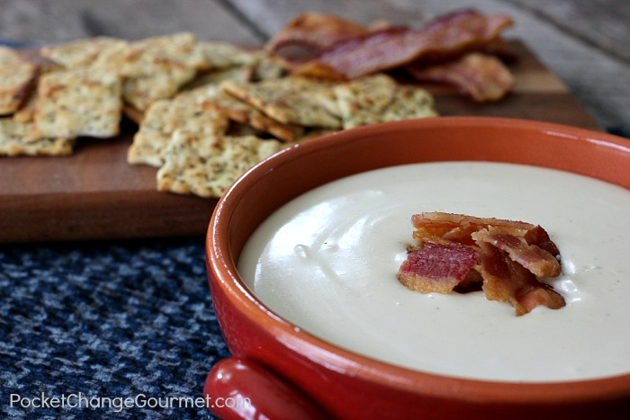 Swiss, Bacon & Beer Dip | Recipe on PocketChangeGourmet.com