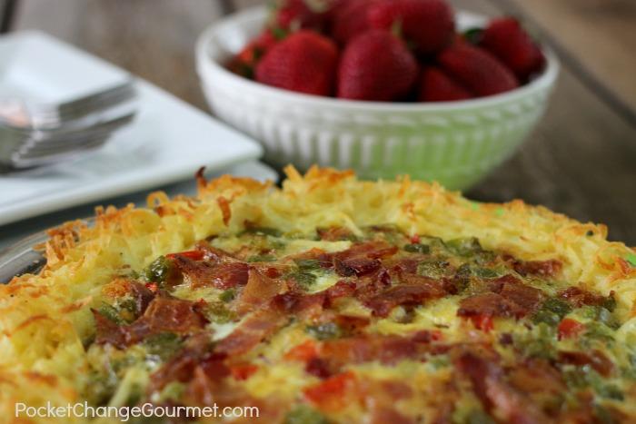 Breakfast Pie with Hashbrown Crust | Recipe on PocketChangeGourmet.com