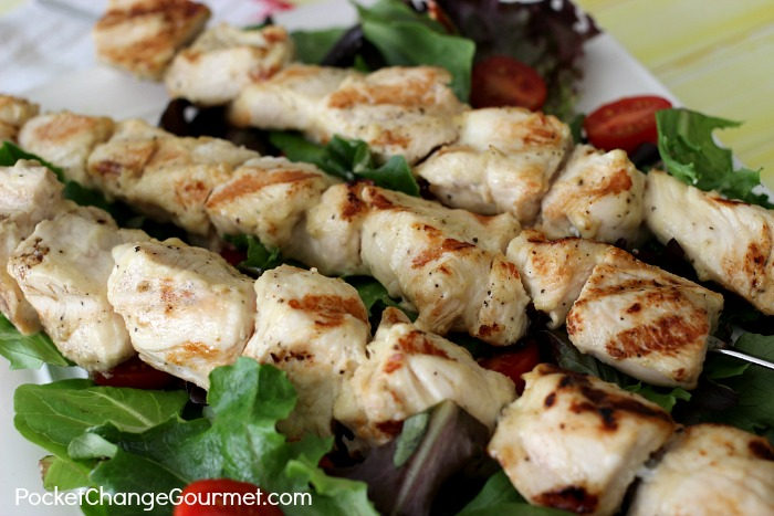 Grilled Lemon Dijon Chicken Kabobs | Recipe on PocketChangeGourmet.com