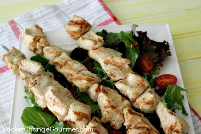 Grilled Lemon Dijon Chicken Kabobs | Recipe on PocketChangeGourmet.com